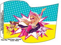 Bandeirinha Sanduiche Barbie Super Princesa--- http://fazendoanossafesta.com.br/2015/07/barbie-super-princesa-kit-festa-infantil-gratis.html/