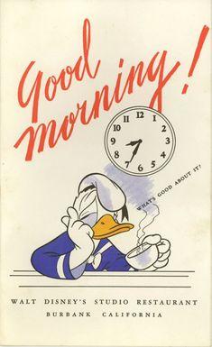 Vintage breakfast menu for the Walt Disney Studios in Burbank.