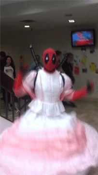 Deadpool in a Wedding Gown [Animated GIF]