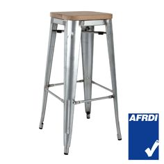 Tall Replica Tolix Stool with Timber Seat in Galvanised