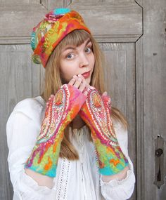 Long felted mittens for slender hands, colorful with wool curls and pieces of silk fabric . OOAK