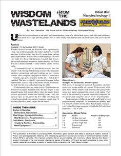 Wisdom from the Wastelands Issue #30: Nanotechnology II - Skirmisher Publishing | Wisdom from the Wastelands (Mutant Future) | Copper Best Sellers | DriveThruRPG.com