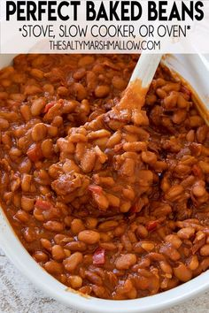 Perfect Baked Beans are saucy, flavor packed, and so easy to make from scratch! You can make this baked beans recipe on the stove, oven, or even your slow cooker! Homemade Baked Beans, Baked Bean Recipes, Beans Recipes, Slow Cooker Recipes, Crockpot Recipes, Cooking Recipes, Skillet Recipes, Easy Cooking, Vegan Kitchen