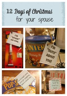 12 Days of Christmas For Your Spouse. Super cute ideas plus free printables!