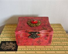 Mother's Day Red Jewelry Box/Gift Box For Her/Upcycled/Repurposed Wood/Distressed/Vintage Button/Display Box