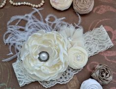 Ivory Cream Headband, Over the Top Headband, Shabby Chic Headband, Girls / Baby Headband, Flower Girl Headband Wedding Baptism Christening on Etsy, $16.90