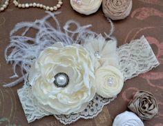 Ivory Cream Headband, Over the Top Headband, Shabby Chic Headband, Girls / Baby Headband, Flower Girl Headband Wedding Baptism Christening on Etsy, $16.90