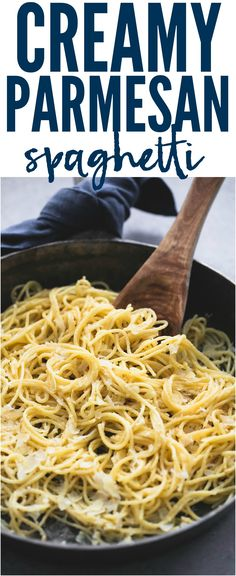 Creamy Parmesan Spaghetti is just 6 ingredients and one pan! It is a delicious quick and easy meal that the entire family will go crazy over!