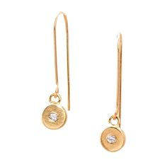 Chic 18K Gold flat drop earrings featuring 1.8mm conflict-free Diamond accents. Handcrafted in Washington D.C.