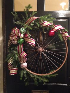 Bike wheel Christmas wreath