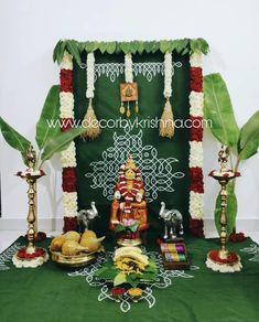 Our First is going to be so traditional with trials on full swing from our branches Decor by Haneesha… Housewarming Decorations, Diy Diwali Decorations, Home Wedding Decorations, Festival Decorations, Flower Decorations, Altar Decorations, Eco Friendly Ganpati Decoration, Ganpati Decoration Design, Kalash Decoration
