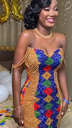 Crystal Wedding Dresses, Bridal Dresses, Wedding Gowns, African Dress, African Formal Dress, Grey Hair And Makeup, African Traditional Wedding Dress, Lace Gown Styles, Kente Dress