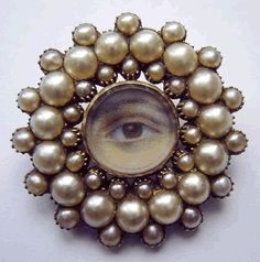 Georgian lovers eye painting surrounded by natural pearls set as a brooch