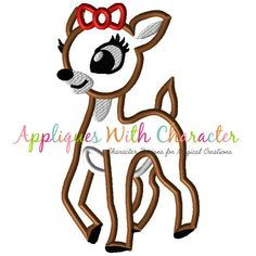 Rudolph Clarice Applique Design by Appliques With Character  #christmasappliquedesign #christmas #rudolphapplique #kidsappliquedesign #embroiderydesign #appliquedesign #rudolphtherednosedreindeer #reindeerapplique