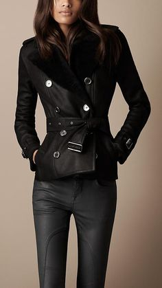 For Merit - Chic Burberry Cropped Shearling Trench Coat. Гульсина · куртки  короткие e396f21b3ec6d