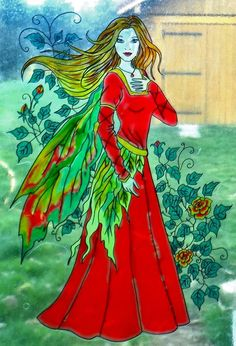 WICOART WINDOW COLOR STICKER CLING FAUX STAINED GLASS WILD ROSES FAIRY FEE FAE