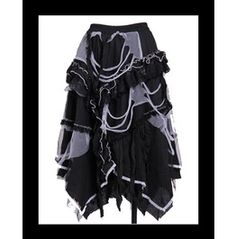 Gothic Skirt Black & White Used Look