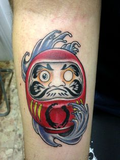 #daruma #waves #japan #japanese #tradition #colored #tattoo #tattooart #tattooartist #artist #rome #italy #inked #ink #lucky #luck #goodluck