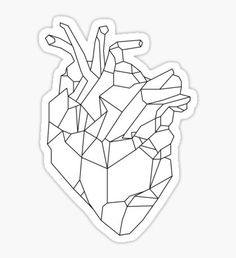 """""""Geometric Heart"""" Stickers by Eliza Gwynne Geometric Heart Tattoo, Geometric Drawing, Geometric Art, Geometric Animal, Art Challenge, Origami Human, Anatomical Heart Drawing, Black And White Stickers, Heart Illustration"""