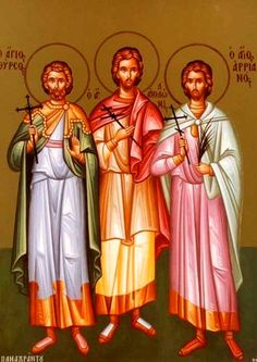 Holy Martyrs Thyrsos, Leukios and Kallinikos (4th cent, Bithynian Caesarea) were persecuted under emperor Decius. Saint Leukios reproached the governor for the unjust persecution of Christians and was tortured and beheaded. Saint Thyrsos endured cruel tortures unharmed and by God's will died peacefully. Seeing Thyrsos' bravery, pagan priest Kallinikos believed and confessed Christ, for which he was beheaded. They are celebrated Dec 14.