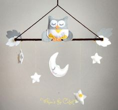 Baby Mobile - Neutral Grey and Yellow Chevron Owl Baby Mobile -  for Baby Girl or Baby Boy - Customizable Mobile