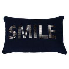 Silver Studded Smile Pillow in Navy | Dorm Room Decor | OCM.com