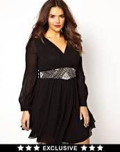 Little Mistress Embellished Waist Wrap Front Skater Dress Black