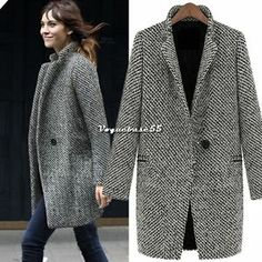 Women Large Lapel Wool Cashmere Long Winter Parka Coat Trench Outwear Jacket VE4