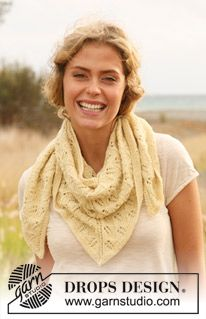 """Petit Canari - Knitted DROPS shawl with lace pattern in """"Alpaca"""". - Free pattern by DROPS Design Drops Design, Shawl Patterns, Knitting Patterns Free, Free Pattern, Lace Knitting, Knit Crochet, Poncho Shawl, Mittens Pattern, Alpacas"""