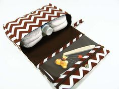 ON SALE  Brown chevron diaper bag organizer baby by purseNmore