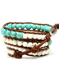 WRAP CHIC wrap bracelet feita em couro com pedras preciosas, semi-preciosas e cristais. (Finest leather with precious and semi-precious stones)