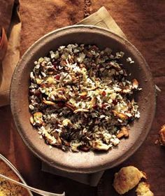 Wild Rice and Mushroom Pilaf With Cranberries    http://www.realsimple.com/food-recipes/browse-all-recipes/wild-rice-mushroom-pilaf-00000000044544/    Be sure to choose gluten free rice maybe add quinoa for more nutrition