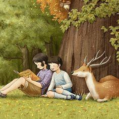 어느 가을날의 오후 - 부분컷 #일러스트 #그림 #숲 #나무 #자매 #동물 #친구 #가을 #동화 #이야기 #행복 #평온 #따뜻함 #종이비행 #illust #art #painting #forest #tree #children #story #sister #animals #autumn #warm #happy #friends