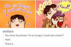 """If Jean ever gets eaten by a titan are we going to make jokes about """"oh that titan must have been really hungry he was so hungry he could eat a horse"""" because let's not"""