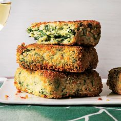 Vegetarian Holiday Recipes: Golden Semolina Quinoa Spinach Cakes via Food and Wine #HealthyBites #VegetarianEats #FoodandWine
