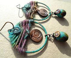 Patinated Batik Tapestry handmade lampwork bead by GeneaCK on Etsy