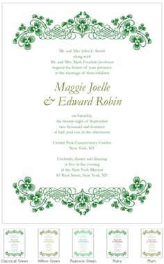Luck of the Irish Wedding Invitations (Set of 4 - 5 Colors) from Wedding Favors Unlimited