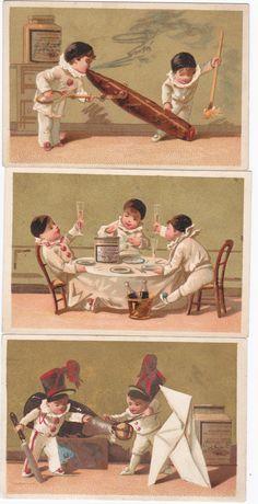BLACK CAP  PIERROTS - 3 - LIEBIG TRADE CARDS - SAN53FR ISSUED IN 1873-1878 chromo 2