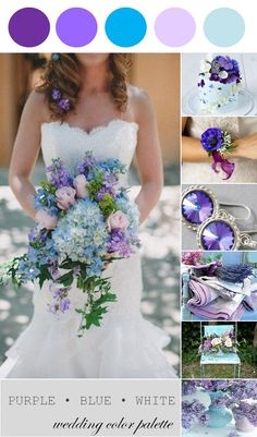 Wedding Color Palette | Purple, Blue and White - www.theperfectpalette.com - Color Ideas for Weddings + Parties    Shop http://www.afloral.com/ for your spring wedding. #springwedding