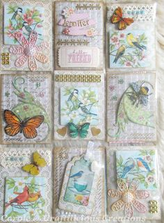 More birds and butterflies plus a bee. More birds and butterflies plus a bee. More birds and butterflies plus a bee. Atc Cards, Card Tags, Journal Cards, Junk Journal, Pocket Pal, Pocket Cards, Butterfly Art, Butterflies, Inchies
