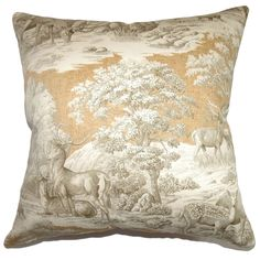 Add this lovely toile throw pillow in your Safari theme home design. This square pillow features an exquisite wildlife print design in warm colors of brown and white.