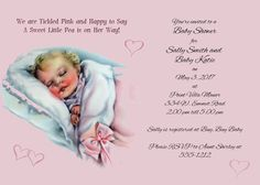 Baby Shower Shower invitation 5 by 7  customized by OldOwlPress