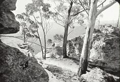 Title: Mt. York. Old Bathurst Road Date & Location: 6 December 1912, Blue Mountains (NSW); Mount York (NSW) Description: Black and white glass lantern slide. Title in ink on upper edge label. Caption on lower edge: Squire Photo Supplies, King Street Notes: Section of old Western Road across Mount York. Unidentified person seated on rock on far side of road, with views of valley below. From negative in Mitchell Library Frank Walker Collection ON 150, Item 997.