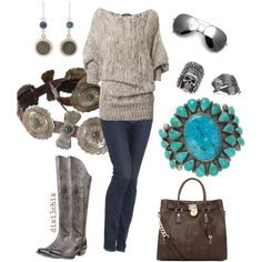 """Boots"" by dixi3chik on Polyvore - I LOVE THIS...I already have most of the turquoise jewelry that would look great with this.  This helps me put outfits together too."