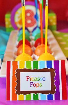 Art themed 8th birthday party via Kara's Party Ideas KarasPartyIdeas.com Printables, cake, decor, cupcakes, desserts, invitation, etc! #artparty #paintingparty #karaspartyideas (36)