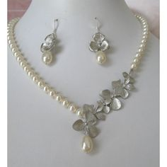 Bridal Pearl Necklace and earrings set with silver by maylui via Polyvore