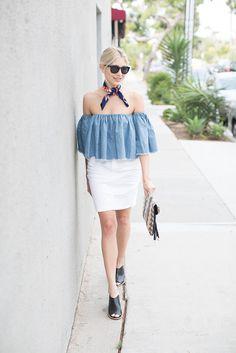 Wheretoget - Blue off-the-shoulder blouse, white skirt, black sandals, navy blue printed scarf, black sunglasses and geometric print clutch bag