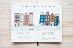 Amsterdam illustrated cities by Kondo Yoshie