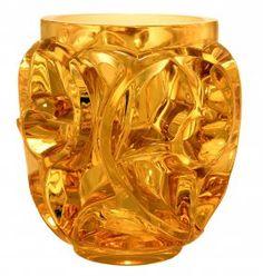 Lalique amber vase