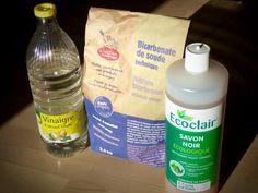 tout nettoyer dans la maison avec 3 produits : vinaigre blanc, bicarbonate et savon noir. Une semaine à Paris-Forêt